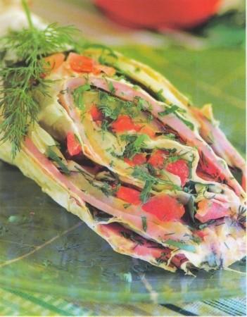 Рецепт лаваша с ветчиной и зеленью