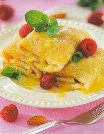 Рецепт блинов со свежей малиной